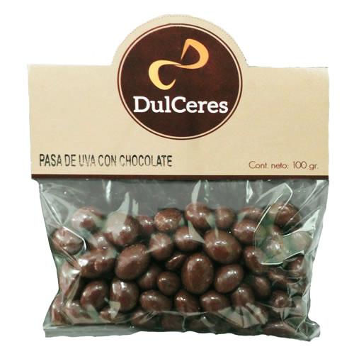 pasas de uva con chocolate